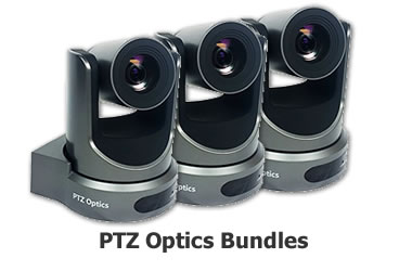 Shop PTZ Optics camera + mixer + streaming bundles