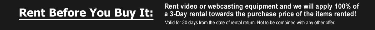 Video / Webcast Gear Rentals