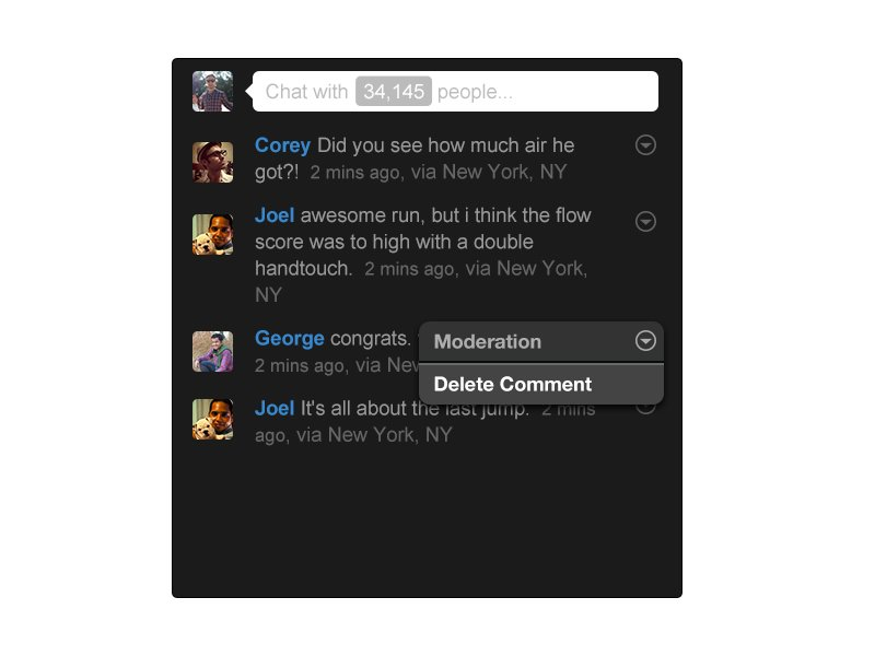 Livestream platform sample chat