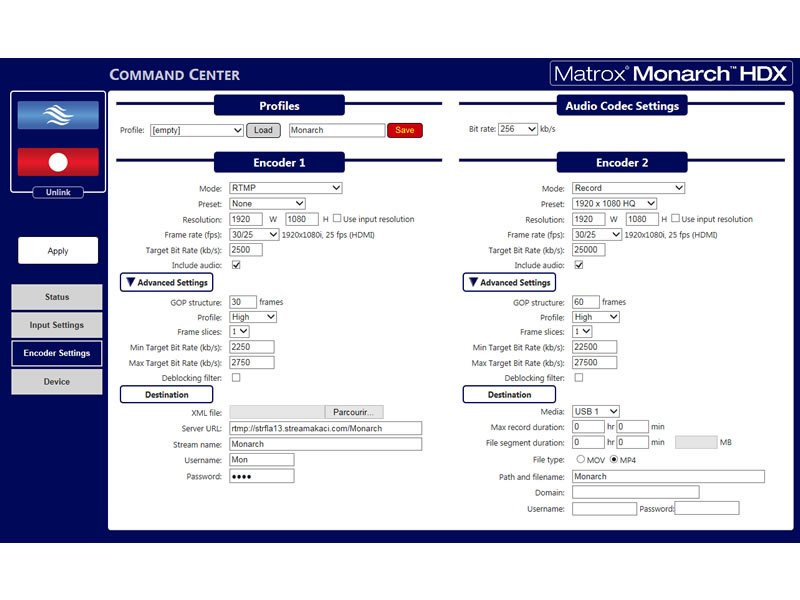 Monarch HDX web interface