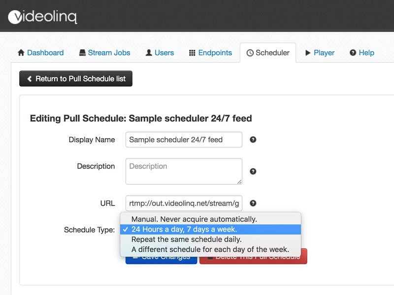 Videolinq Scheduler interface