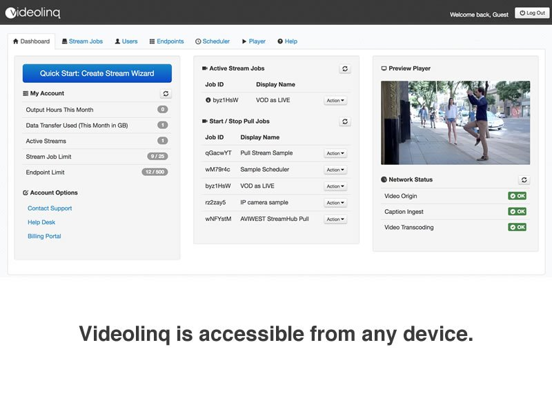 Videolinq media dashboard